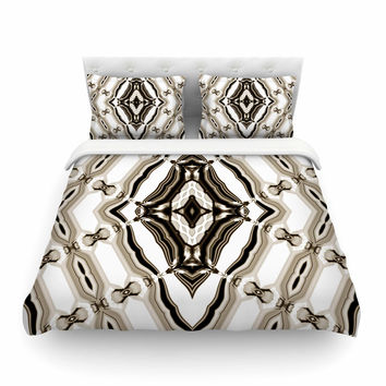 "Dawid Roc ""Inspired By Psychedelic Art 6"" Brown Pattern Featherweight Duvet Cover"