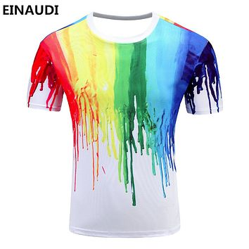 Novelty 3 D t shirt Men Multi color Paint Printed Hip Hop Crew neck short Sleeve Men t-shirt tee tops