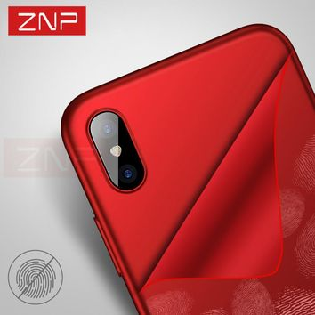 ZNP Luxury Matte Soft Ultra-Thin Back Cases For iPhone X 10 8 Case 6s 7 Silicone TPU Full Cover Cases For iPhone 8 7 6 Plus Case