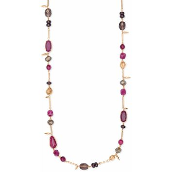 Kendra Scott: Ruth Rose Gold Long Necklace In Maroon Mix