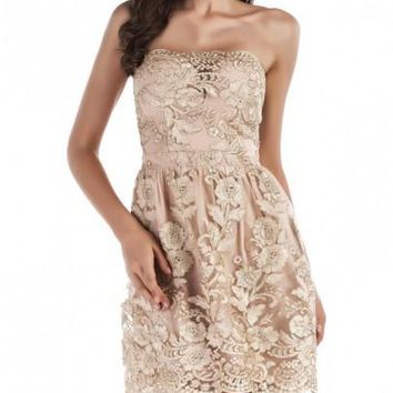 New Golden Floral Embroidery Grenadine Bright Wire Off Shoulder Backless Homecoming Party Elegant Fashion Mini Dress