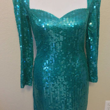 Turquoise Sequin Long Sleeve Dress