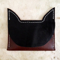Handmade Leather black, brown, and white cat wallet card case