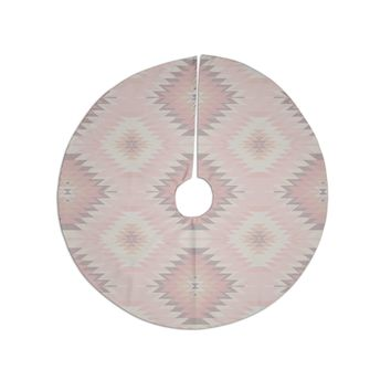 "Amanda Lane ""Soft Southwestern"" Pink Coral Digital Christmas Tree Skirt"