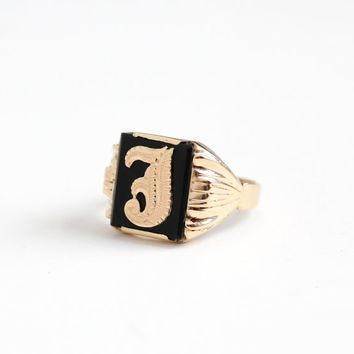 Vintage 10k Rosy Yellow Gold Black Onyx Initial Letter J Signet Ring - Art Deco 1940s Size 10 1/4 Black Onyx Men's Monogram Fine Jewelry