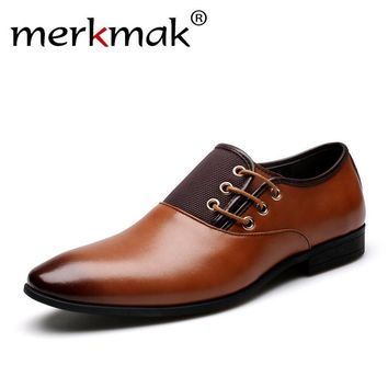 Merkmak Oxford Shoes Formal British Lace-up Men's Footwear