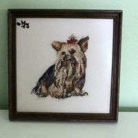 Yorkshire Terrier Cross Stitched Full Face Dog, Handmade Cross Stitching, Puppy Yorkshire Terrier, Yorkie, Portrait, Picture, Dog Painting