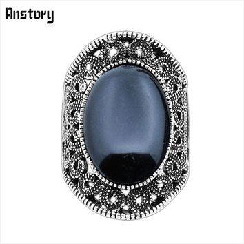 Hollow Flower Oval Stone Rings For Women Vintage Antique Silver Plated Fashion Jewelry