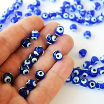 Real Evil Eye Beads From Turkey Set Of 50 - 8 mm Navy Blue Glass Beads - Dark Blue Turkish Eye Nazar mal de ojo malocchio Protection Eye