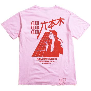 Dancing Night Pocket T-Shirt Pink