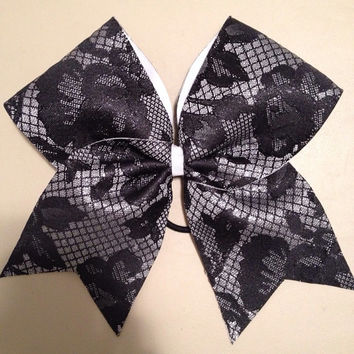 Black Lace Cheer Bow-ANY COLOR BACKING