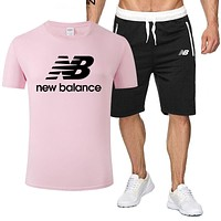New Balance Summer New Fashion Letter Print Sports Leisure Top And Shorts Two Piece Suit Men Pink