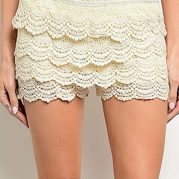 Crochet Lace Shorts - Ivory