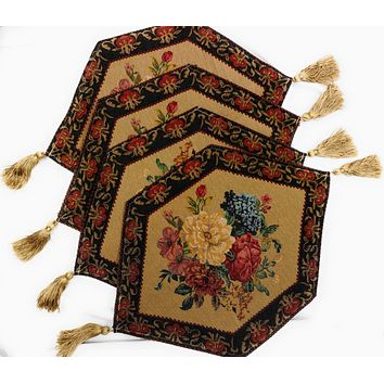Tache 4 Piece Colorful Country Rustic Floral Morning Awakening Table Runner/Placemats , 13x17