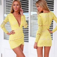 Moxeay® Elegant Lady Lace Crochet Deep V-Neck Bodycon Party Cocktail Wrapped Mini Dress (M)