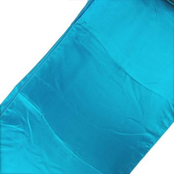 Satin Fabric Table Runner, Turquoise, 14-Inch x 108-Inch