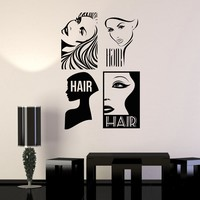 Vinyl Wall Decal Hair Salon Barbersop Barber Hairdresser Stickers Unique Gift (194ig)
