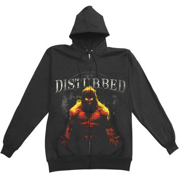 Disturbed Men's  Inside Zippered Hooded Sweatshirt Black Rockabilia