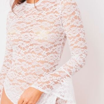 ruby white bell sleeve lace bodysuit