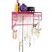 """Pink 10"""" Wall Mount Jewelry & Accessory Storage Rack Organizer Shelf for Earrings, Bracelets, Necklaces, & Hair Accessories"""