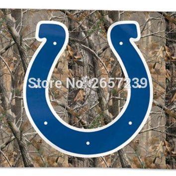 Indianapolis Colts Camo real tree logo Flag 3x5FT NFL  banner150X90CM 100D  Polyester brass grommets custom flag, Free Shipping