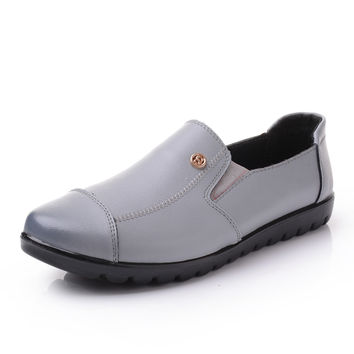 Oxford Genuine Leather Mother Flat Shoes