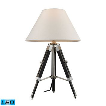 D2125-LED Studio LED Table Lamp In Chrome And Black With Woven Linen Shade