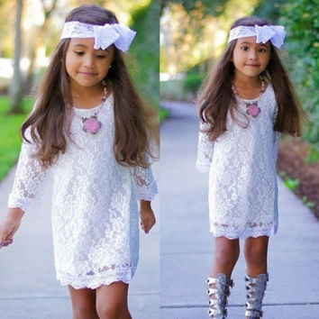 New Fashion Trend Kids Baby Girls Princess Flower Tutu Lace Dress Skirt 2-11Y = 1946910276