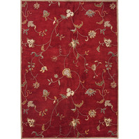 Jaipur Rugs Transitional Floral Pattern Red/Ivory Wool Area Rug PM41 (Rectangle)