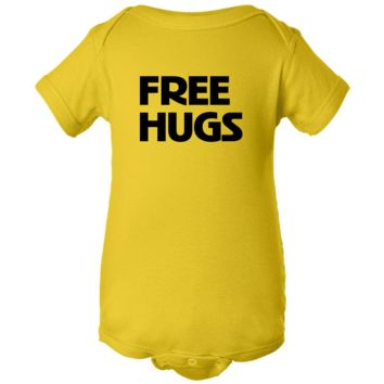 """Free Hugs"" Yellow Creeper Baby Onesuit"