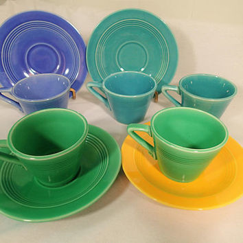 Homer Laughlin Harlequin Demitasse cups and saucers, Tiny cups, small cups and saucers Fiesta colors, Light Green, Turquoise, Blue Mauve,