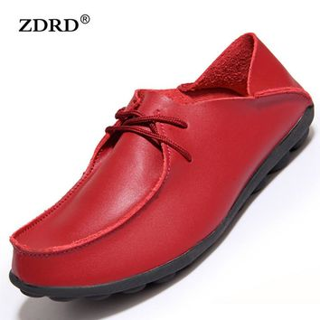 2016 New Autumn Women Flats Creepers Shoes Women Genuine Leather Oxfords Shoes Moccasi