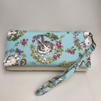 Rabbit blue wallet,Cute NCW wallet,Long fabric wallet,Gift for Women,Travel bifold wallet,Cell phone pouch,Zipper bag,Thailand,Handmade