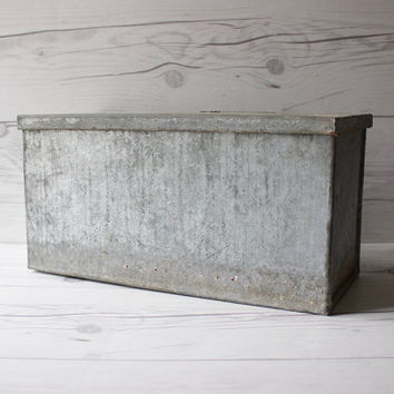 Vintage Handmade Galvanized Metal Box with Lid | Rustic, Cottage, Farmhouse Chic | Industrial Decor