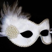 White And Cream Lace Bridal Masquerade Mask With Faux Pearls And Feathers- Embellished Lace Venetian Style Wedding Mask