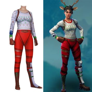 Women Kids Game Cosplay Costume RED NOSED RAIDER Bodysuit Suit Jumpsuits Halloween