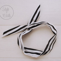 BLACK Striped Wire Headband Bow Headband Toddler Headband Adult Rockabilly Headband Retro Tie UP Headband Adult headband