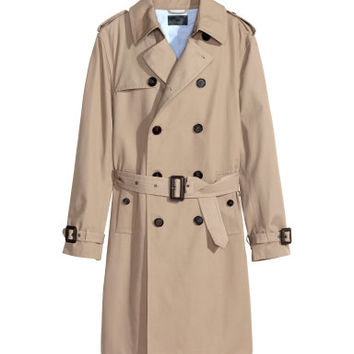 H&M - Premium Cotton Trenchcoat - Dark blue - Men