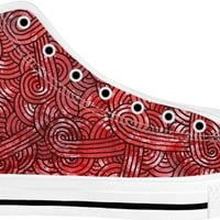 Red and black swirls doodles White High Tops