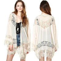 Ladies Sexy Boho Crochet Sheer Lace Floral Kimono Cardigan Coat Blouse Tops