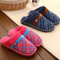 Couple Cotton Extra Large Men Winter Anti-skid Slippers [9067741572]