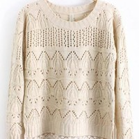 Round Neck Long Sleeve Begie Sweater  S002958
