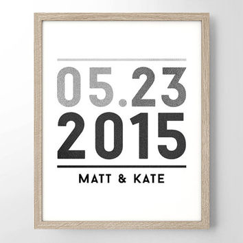 Custom Anniversary or Bday Date and Names Art Print in Greyscale - Minimalist Art - Home Office Decor - Bday - Wedding Gift - Nursery Decor