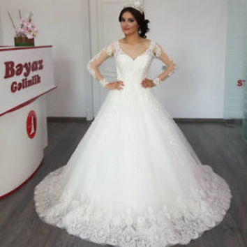 Long Sleeves Winter Lace Bridal Gown Wedding Dress Custom Size 0 2 4 6 8 10 12