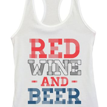 Womens Red Wine And Beer Grapahic Design Fitted Tank Top