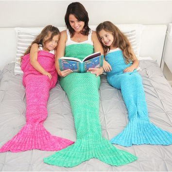 MERMAID TAIL CROCHET SOLID BLANKET SIZES BABY CHILDREN ADULT (14 COLORS)