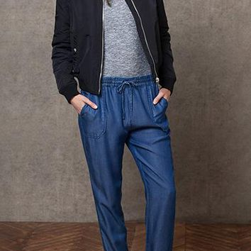 Solid Washed Blue Denim Jeans - Drawstring Elastic Waist.