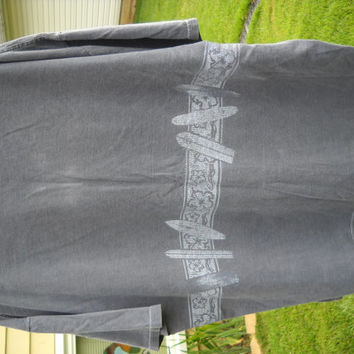 """Made by Anvil """"Ditch Plains Montauk N Y  Surfers delight Gray 2XX Mens Tee Shirt. Design goes all the way around tee...."""