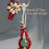 Christmas Red Green Earrings Aventurine Gold Plate Fashion Accessory