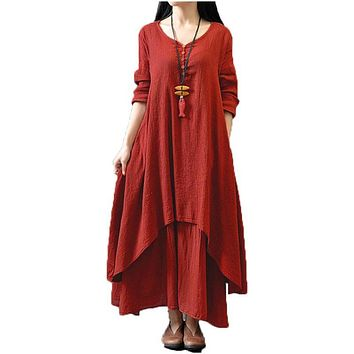 Hot 2017 Women Casual Loose Long Sleeve V-Neck Dress Fashion Autumn Cotton Linen Boho Solid Long Maxi Dress Vestidos Plus Size